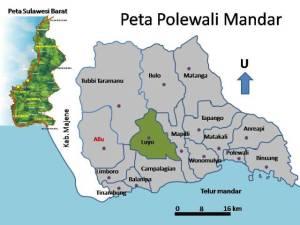 Lokasi wilayah Kecamatan Luyo pada Peta Polewali Mandar  Propinsi Sulawesi Bara